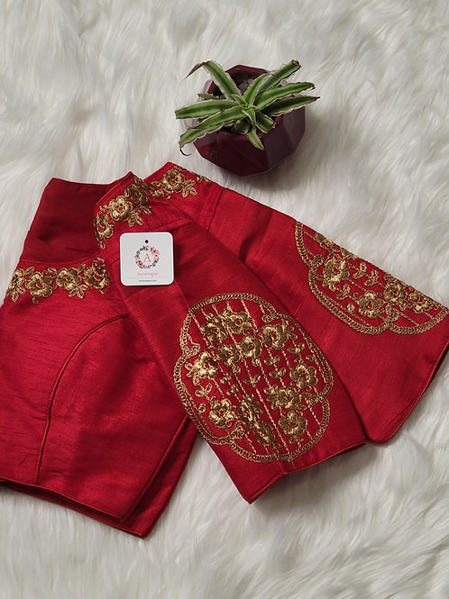 Chilli Red embroidery readymade blouse for Indian saree