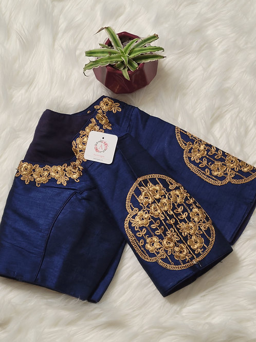 Navy Blue embroidery readymade blouse for Indian saree