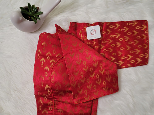 Chilli Red Brocade readymade blouse for Indian saree