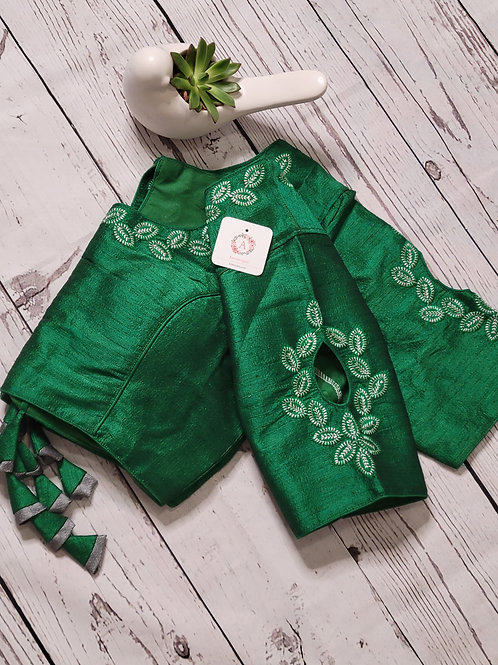Silver zari embroidery  readymade blouse with fancy sleeves  -Bottle Green