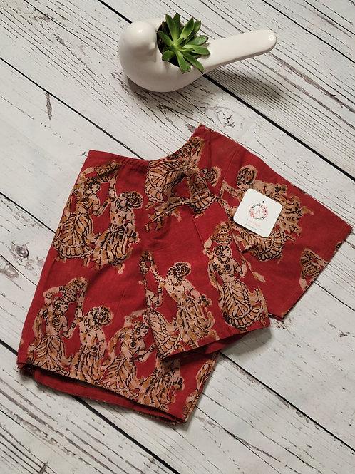 Kalamkari cotton readymade blouse for Indian saree - Marron