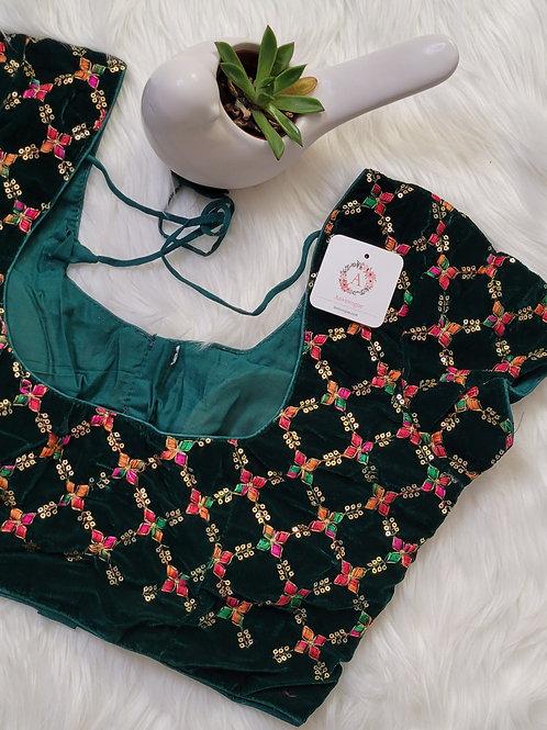 Bottle Green velvet readymade blouse with multi color zari work