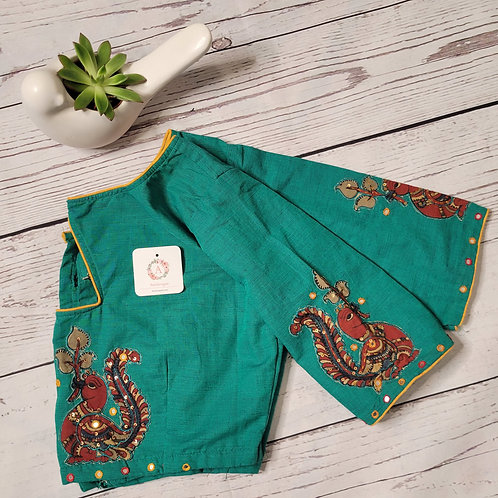 Rama green khadi cotton readymade blouse with applique work for Indian saree