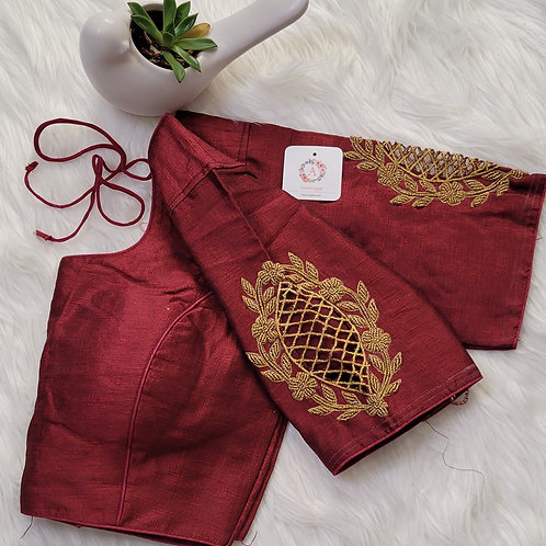 Maroon handwork readymade blouse for Indian saree