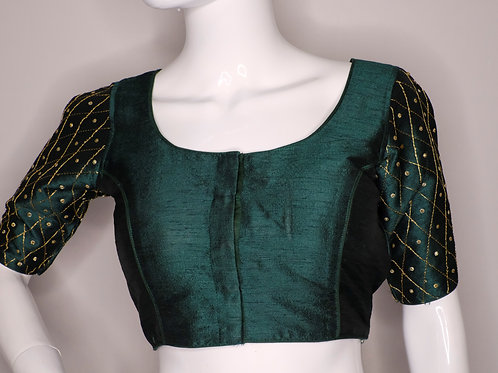 Bottle green sequence worked readymade blouse for Indian saree