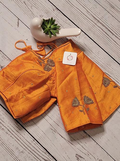 Yellow Aari work readymade blouse for Indian saree