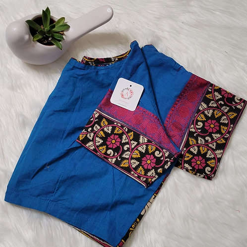 Blue mangaliri cotton readymade blouse for Indian saree