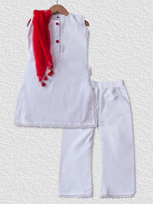 White cotton kurta and palazzo set with red dupatta for girls