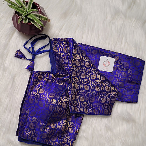 Ink blue color brocade  readymade blouse for Indian saree