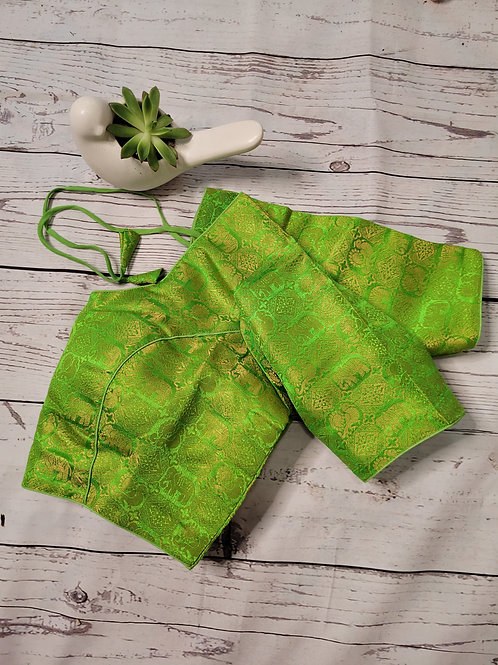 Parrot Green brocade readymade blouse for Indian saree