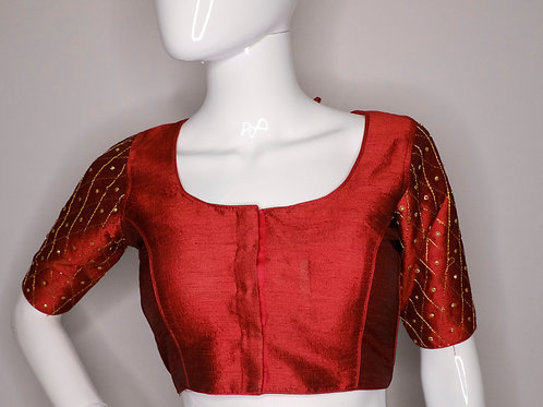 Maroon sequence worked readymade blouse for Indian saree