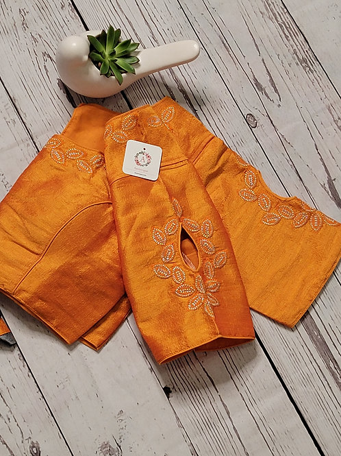 Silver zari embroidery  readymade blouse with fancy sleeves  -Yellow