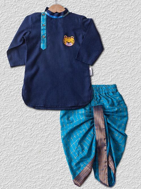 Dark blue cotton kurta with light blue silk dhoti pant
