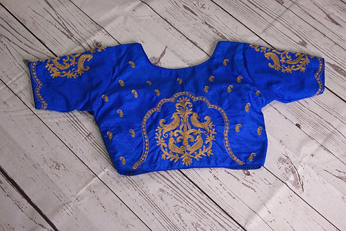 Royal Blue readymade blouse with zari embroidery for Indian sari