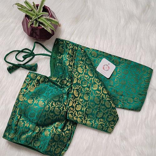 Light green color brocade readymade blouse for Indian saree