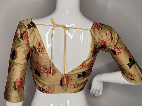 Dark golden floral readymade blouse for Indian saree