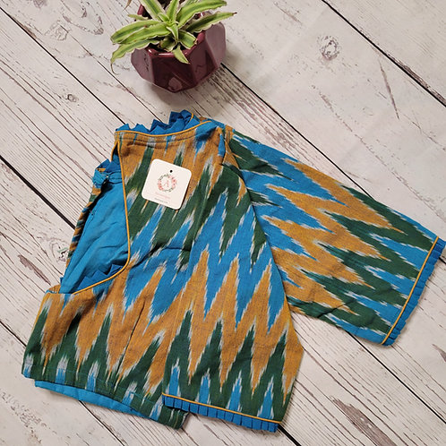 Blue and green Ikat readymade blouse for Indian saree