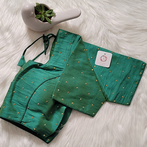 Rama Green raw silk with Golden butta readymade blouse for Indian saree