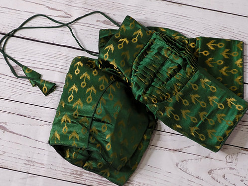 Bottle green color brocade readymade blouse for Indian saree