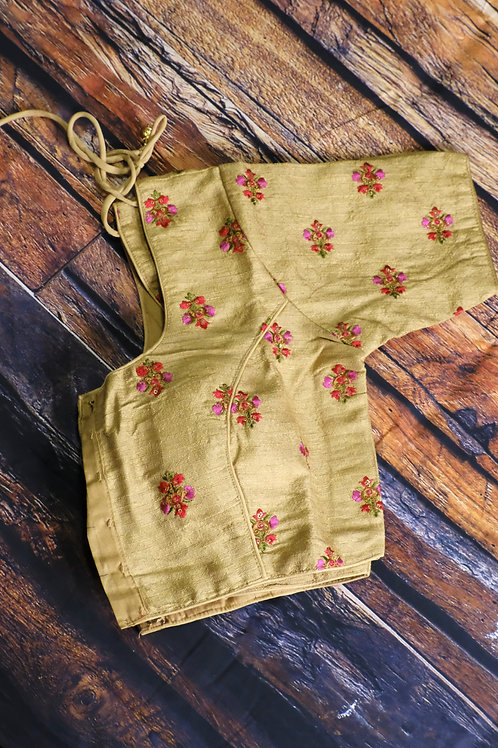 Golden embroidery  readymade blouse for Indian sari