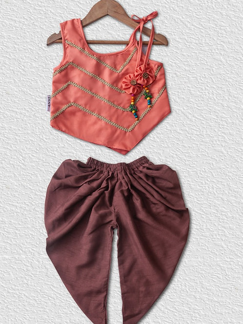 Orange cotton top with Brown silk dhoti pant for girls