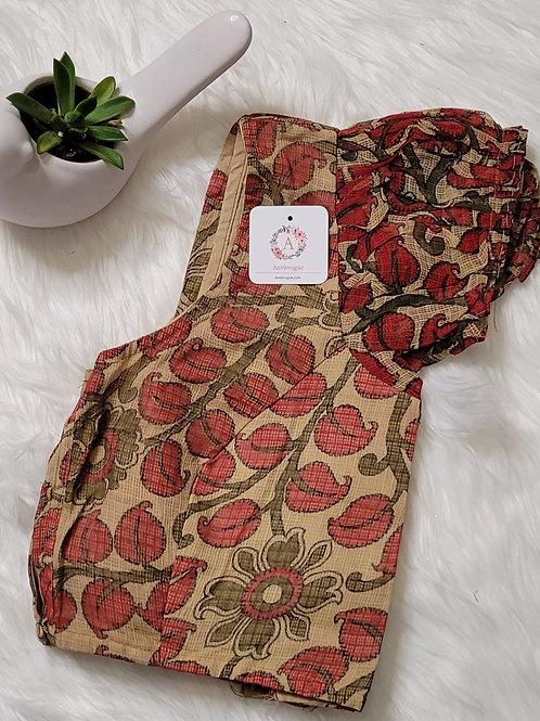 Cream color kalamkari cotton readymade blouse for Indian saree