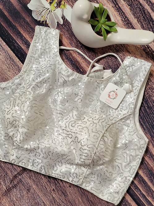 White party wear readymade blouse for Indian saree