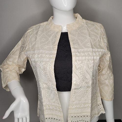Half white Khadi cotton jacket with chikankari work