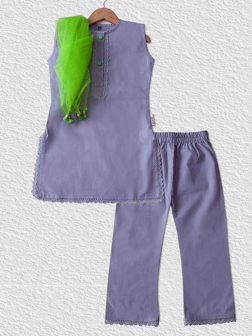 Grey cotton kurta palazzo set with green duppata for girls