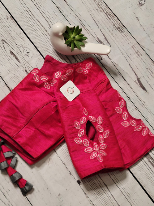 Silver zari embroidery  readymade blouse with fancy sleeves  -Hot Pink