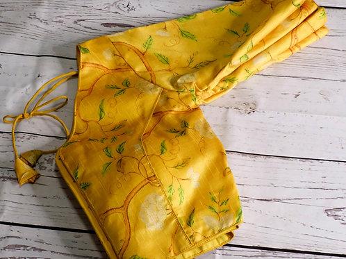 Yellow digital printed readymade blouse for Indian sari
