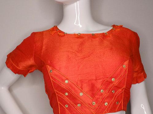 Orange phantom Silk fancy blouse for Indian Sari