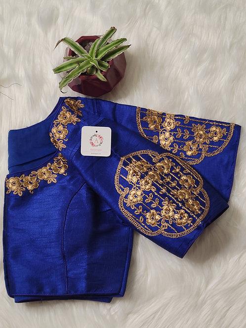 Indigo Blue embroidery readymade blouse for Indian saree