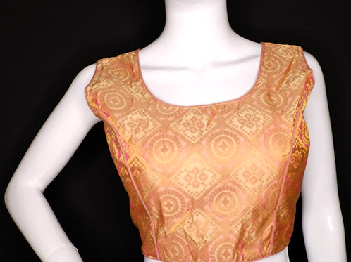 Cream color brocade sleeveless readymade blouse for Indian saree