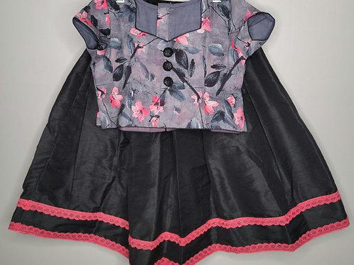 Black lehanga floral crop top for girls