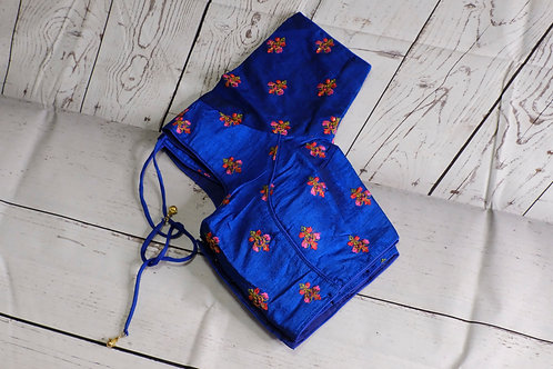 Indigo blue embroidery readymade blouse for Indian sari