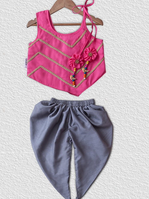 Pink cotton top and Grey silk Dhoti pant for Girls