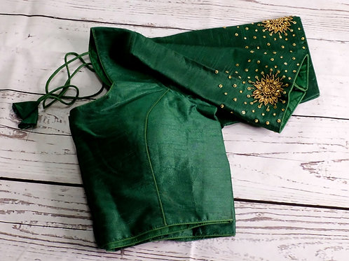 Bottle green Aari handwork blouse for Indian sari