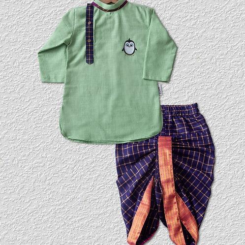 Pista Green cotton kurta with Violet silk dhoti pant