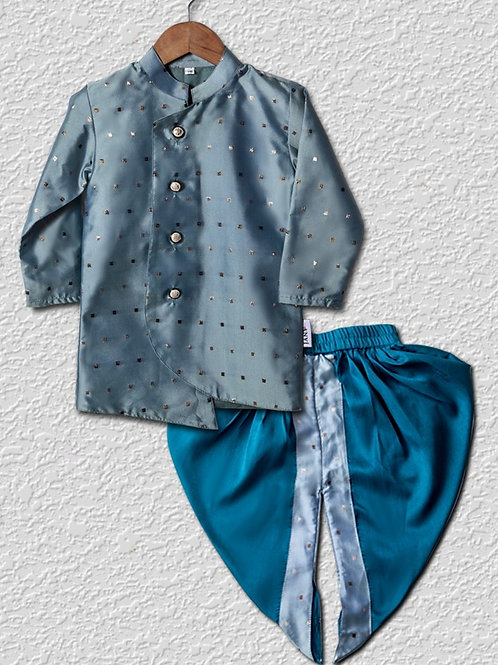 Light blue silk sherwani top with Bright blue satin dhoti pant for boys