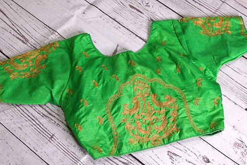 Parrot green color zari embroidery blouse for Indian sari
