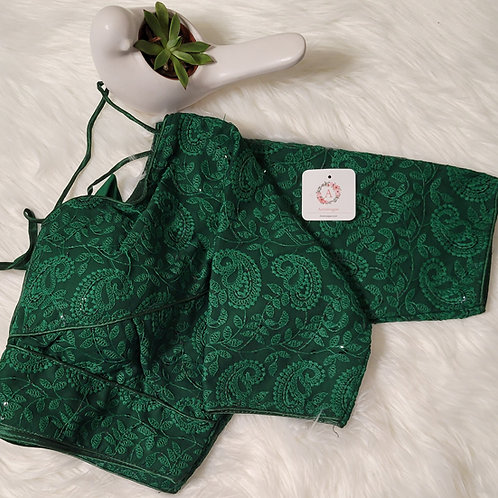 Bottle Green Chikankari sequence readymade blouse for Indian saree