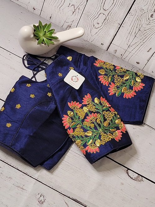 Navy Blue- Hand worked embroidery readymade blouse for Indian saree