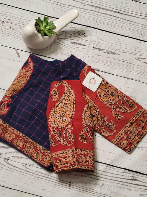 Kalamkari blouse with Brown applique work on the back -Blue