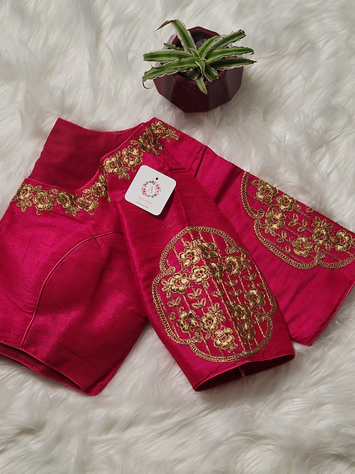 Hot Pink embroidery readymade blouse for Indian saree