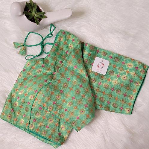 Pista Green banaras readymade blouse for Indian saree