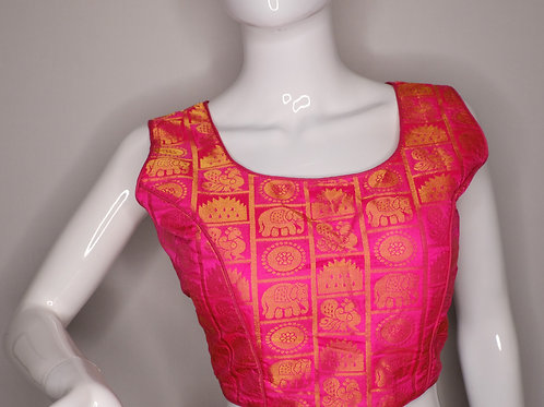 Fuchsia pink color brocade sleeveless readymade blouse for Indian saree
