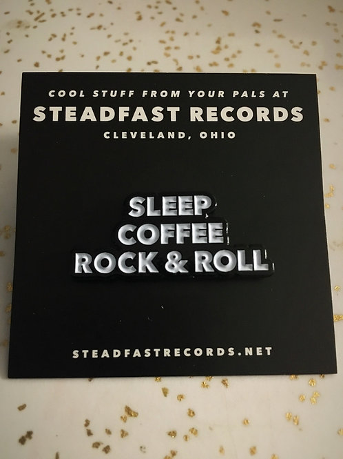 "Sleep, Coffee, Rock & Roll 1.25"" Enamel Pin"
