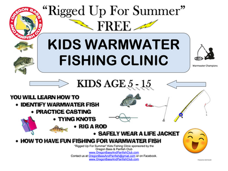 2019 - Rigged Up For Summer Kid's Fishing Clinic Report