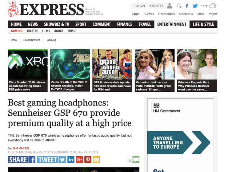 Express newspaper - Sennheiser GSP 670 gaming headset
